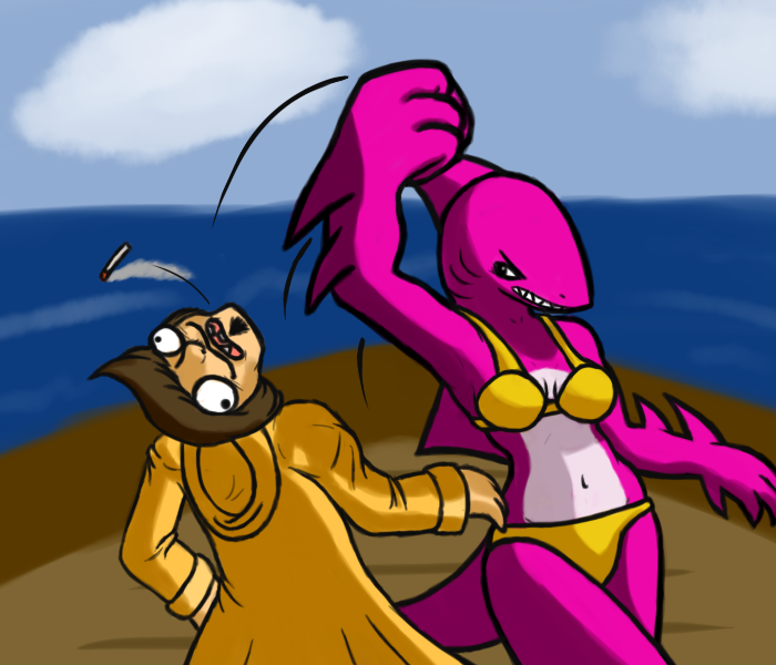 (neon pink) sharkgirl punching out a poacher