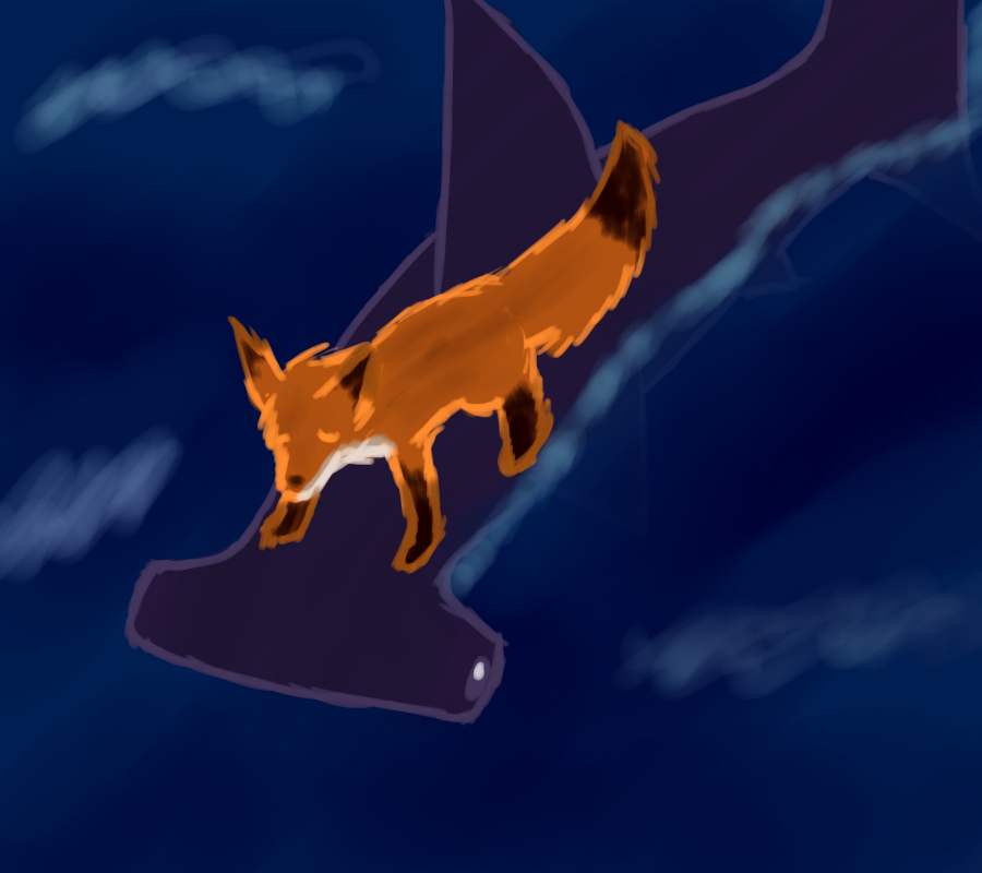Fox riding shark