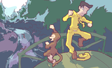 MitYH and Curious George playing Pooh Sticks