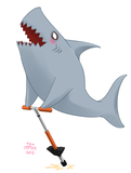 Shark on a pogo stick