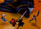 Dasaki, Tarma and Deimos battling a large Plesioth